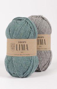 Grønt og grå garnnøste av Drops Lima.