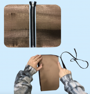 Glidelås som sys på i midten mellom to stoff rektangler og et bisebånd som sys på rundt på siden av rektanglene.