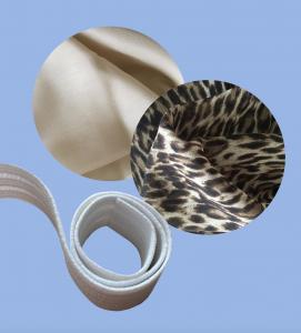 Forstoff, mønstret stoff og strikkbånd i deler.