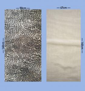 for å sy skjørt trenger du to stoff rektangler, her har vi valgt leopard mønstret og forstoff.