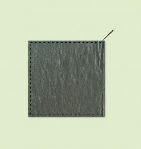 Sy putetrekk ved å legge to stoffbiter rette mot rette.